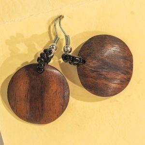 """1"""" Seed Bead Handmade Wood Earrings"""